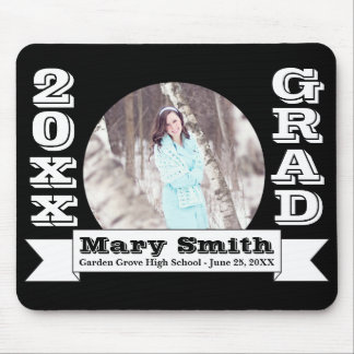 Black & White Formal Graduation Announcement Mouse Pad