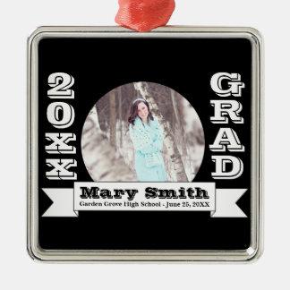 Black & White Formal Graduation Announcement Silver-Colored Square Ornament