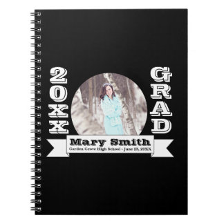 Black & White Formal Graduation Announcement Spiral Notebooks