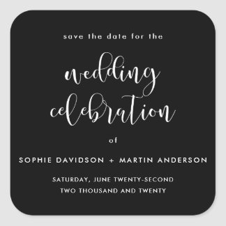 Black & White Formal Script Wedding Save The Date Square Sticker