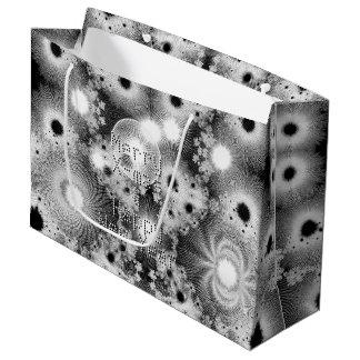 Black & White Fractal Christmas Stars Pattern Large Gift Bag