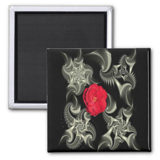 Black & white fractal w/red rose magnet