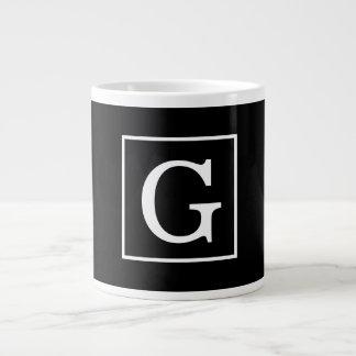 Black White Framed Initial Monogram Jumbo Mug