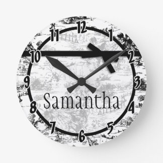 Black White French Fabric Toile Personalized Clock