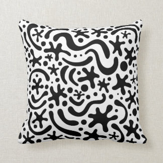 Black & White Funky Blob & Squiggle Pattern Pillow