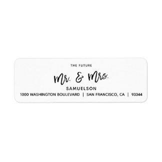 Black White Future Mr & Mrs Wedding Return Address