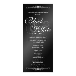 "Black & white gala ball dance corporate tea length 4"" x 9.25"" invitation card"