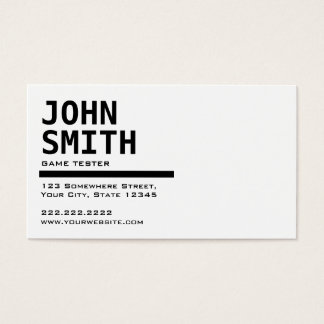 Black & White Game Testing Business Card