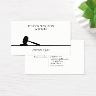 Black & White Gavel Attorney at Law Business Card