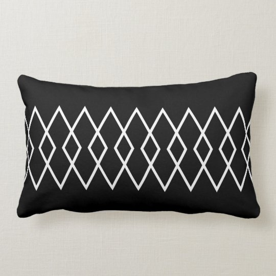 Black & White Geo Diamond Lumbar Pillow