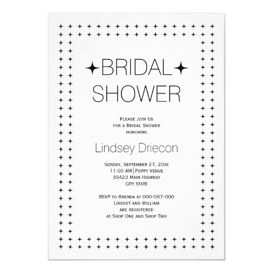 Black white geometric border wedding bridal shower card