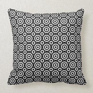 Black & White Geometric Circles Pattern Throw Pillow