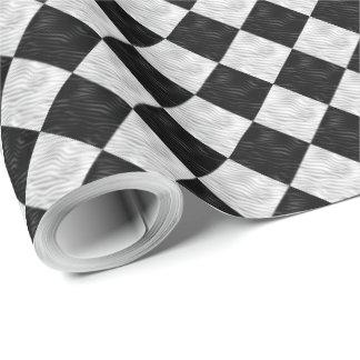 Black White Geometric Diamonds Wrapping Paper