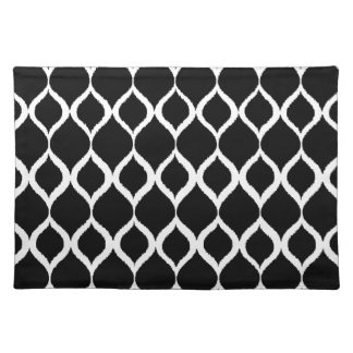 Black White Geometric Ikat Tribal Print Pattern Placemat
