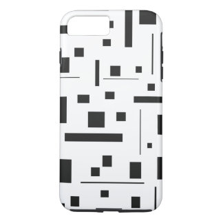 Black White Geometric Minimal Pattern Futuristic iPhone 8 Plus/7 Plus Case