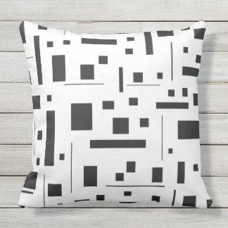 Black & White Geometric Minimal Pattern Futuristic Outdoor Pillow