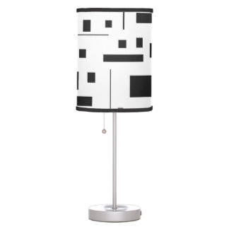 Black & White Geometric Minimal Pattern Futuristic Table Lamp
