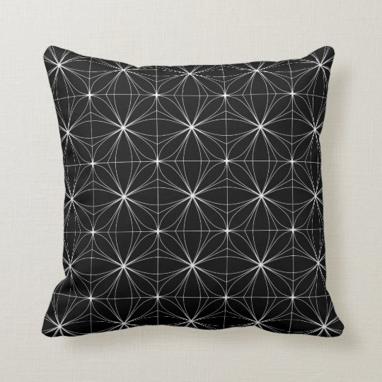 Black & White Geometric Pattern Throw Pillow