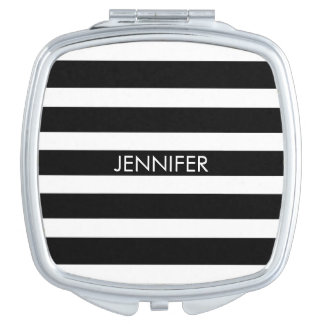 Black & White Geometric Stripes Pattern Makeup Mirror