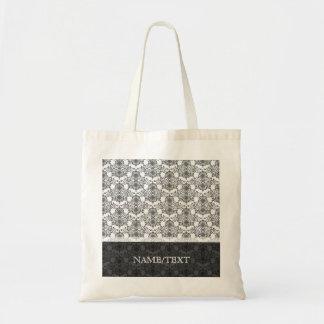 Black & White Geometric Swirls Pattern Tote Bag