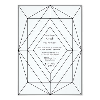 Black & white geometric Wedding Invitation