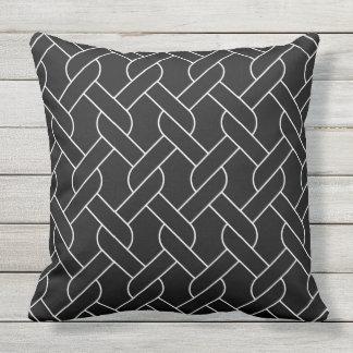 black white geometrical pattern outdoor pillow