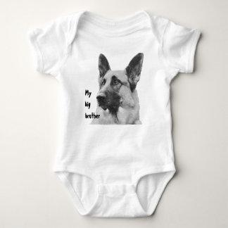Black & White German Shepherd Brother/Sister Baby Bodysuit