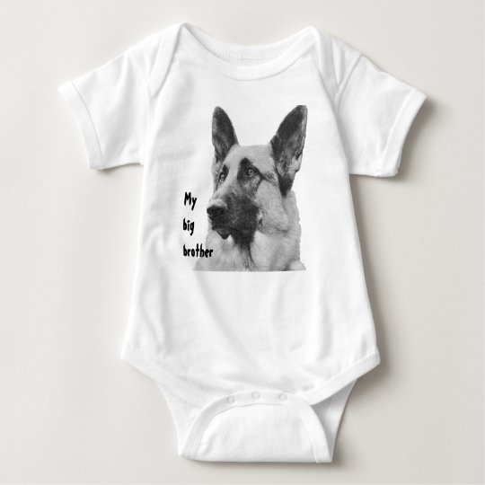 Black & White German Shepherd Brother/Sister Baby Bodysuit