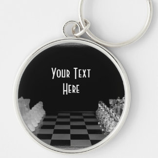 Black & White Glass Chess Board Game Keychain