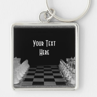Black & White Glass Chess Board Game Silver-Colored Square Keychain