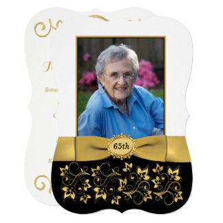Black, White, Gold 65th Photo Birthday Invite 2