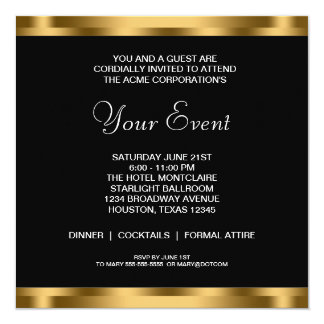 Black White Gold Black Tie Corporate Party Card