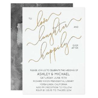 Black White Gold Calligraphy Wedding Invitation
