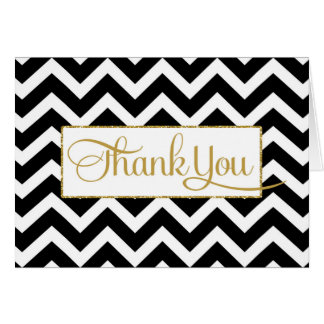 Black White Gold Chevron Thank You Card