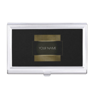 Black White Gold Conceptual Minimal Geometry Business Card Holder