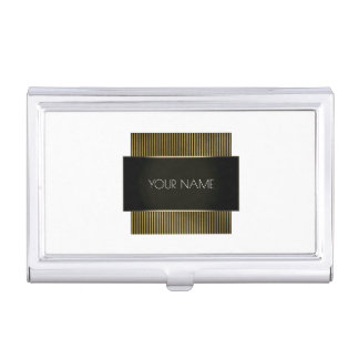 Black White Gold Conceptual Minimal Geometry Lux Business Card Holder
