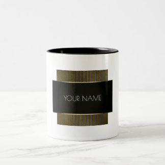 Black White Gold Conceptual Minimal Geometry Lux Two-Tone Coffee Mug
