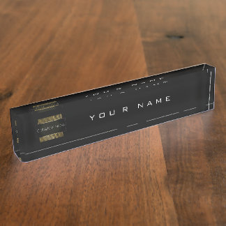 Black White Gold Conceptual Minimal Geometry Name Plate