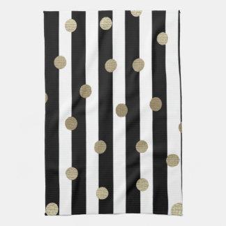 Black, White & Gold Dot & Stripe Kitchen Towel