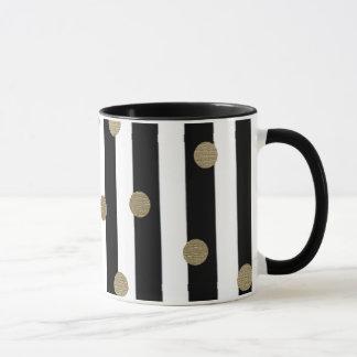 Black, White & Gold Dot & Stripe Mug