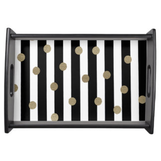 Black, White & Gold Dot & Stripe Serving Tray