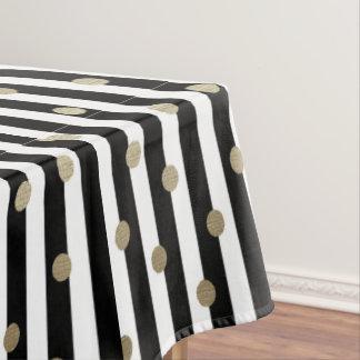 Black, White & Gold Dot & Stripe Tablecloth