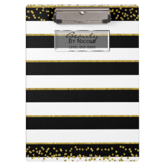 Black White Gold Elegant Chic Glam Personalized Clipboard