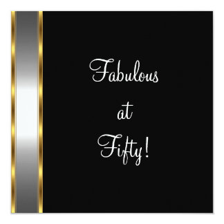 "Black White Gold Fabulous 50th Birthday Party 5.25"" Square Invitation Card"