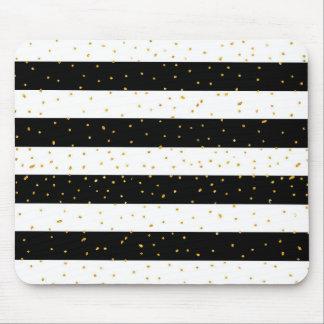 Black white gold faux glitter stripes polka dots mouse pad