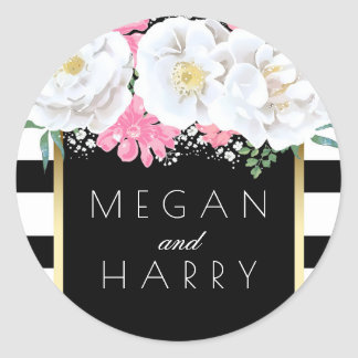 Black White Gold Floral Vintage Stripes Wedding Round Sticker