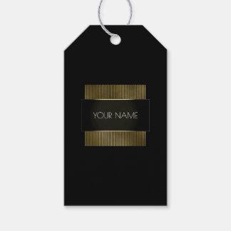 Black White Gold Frame Conceptual Minimal Name Gift Tags