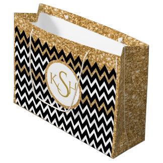 Black White & Gold Glitter Chevron Pattern Large Gift Bag