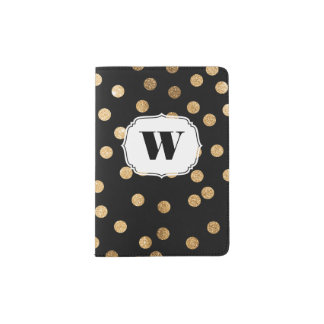 Black White Gold Glitter Monogram Passport Cover