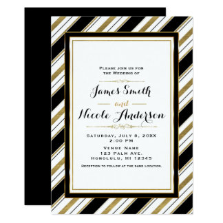 Black White & Gold Horizontal Chic Stripes Wedding Card